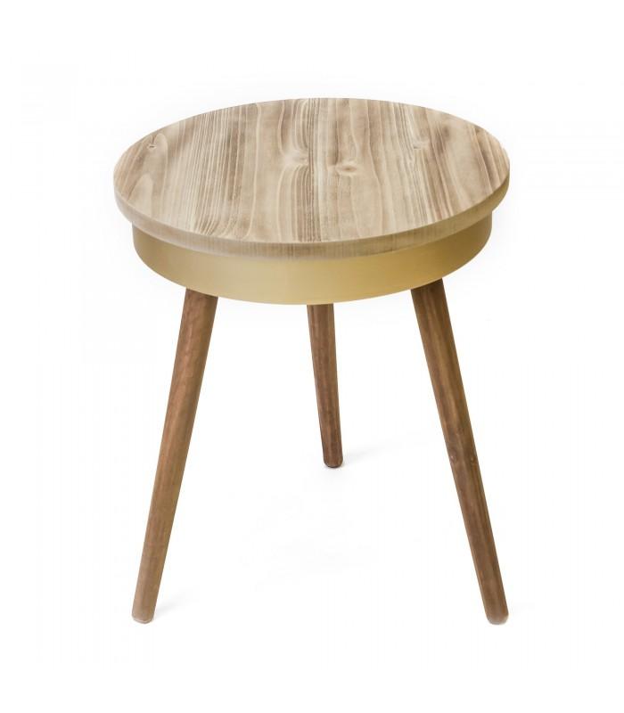 Tisch Rund Holz Gold Mueble Personalizado