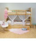 Lit double superposé avec lit à barreaux bas, couleur pin