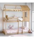 Lit superpossé montessori maison couleur pin mesure 201,5 cm L x 227 cm H x 97,5 cm Fond matériel bois massif